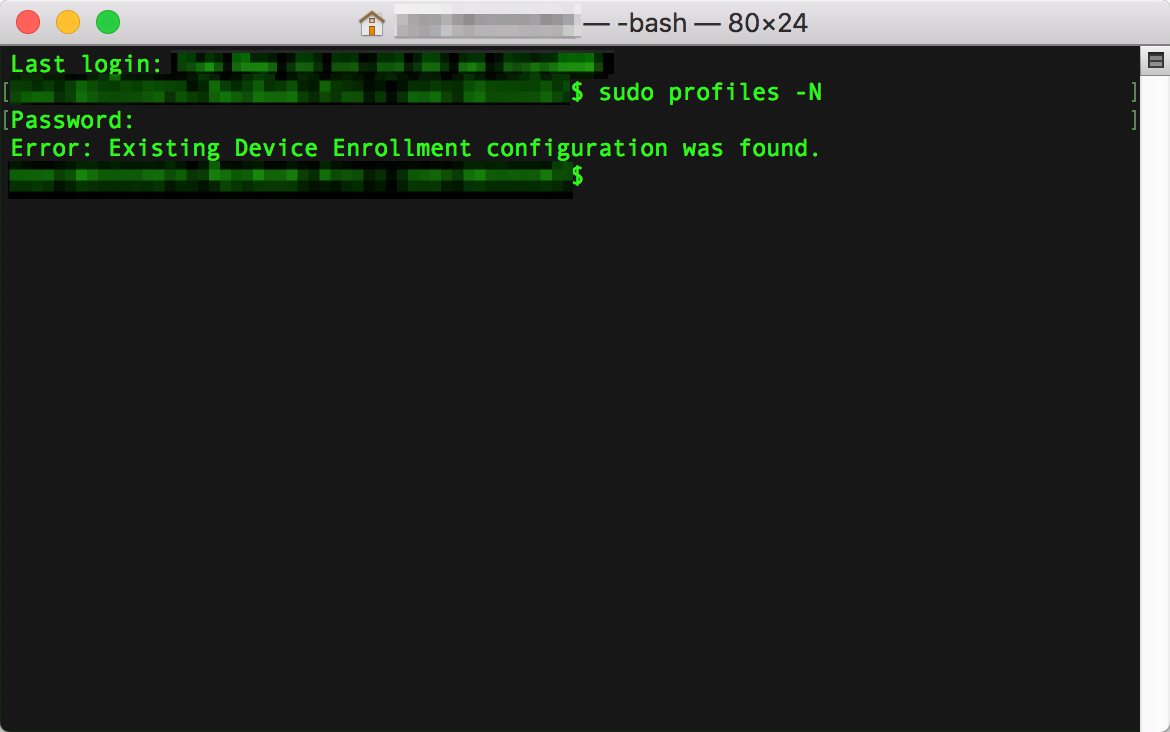 Error: Existing Device Enrollment configuration was found.